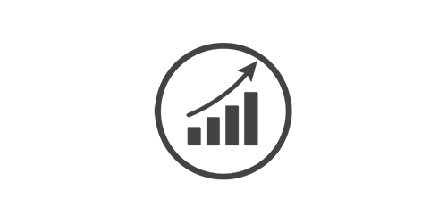 Increasing in size bar chart badge illustration to signify growth