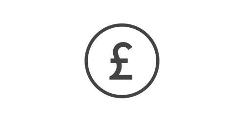 Bristish pound sign badge illustration to signify return on investment