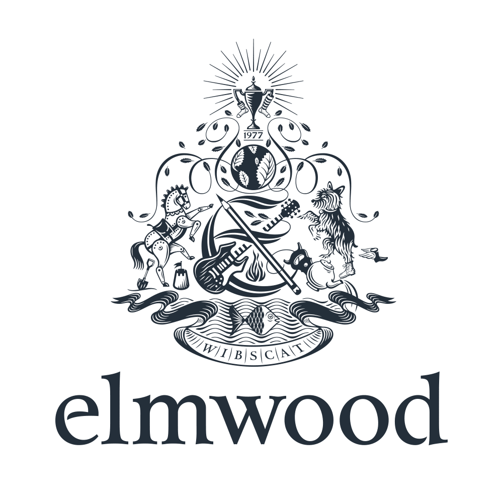 Elmwood logo crest, black on white