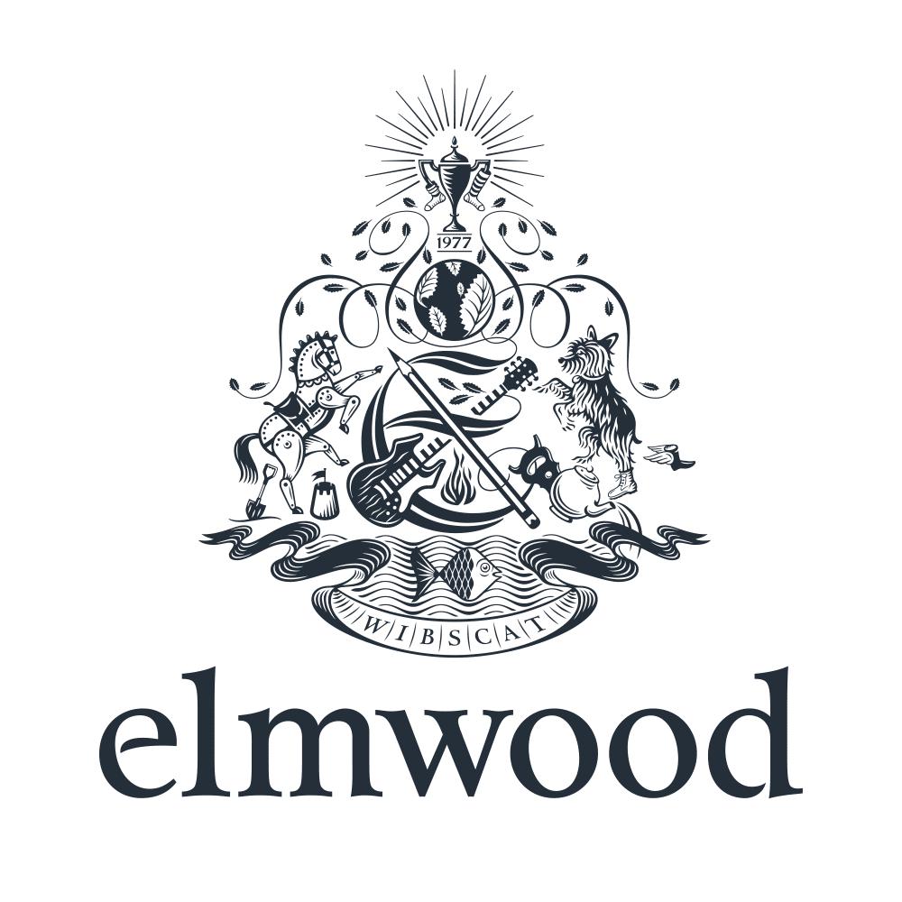 Elmwood logo crest, black on white
